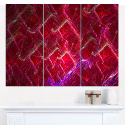 Designart Red Fractal Electric Lightning AbstractArt On Canvas - 3 Panels