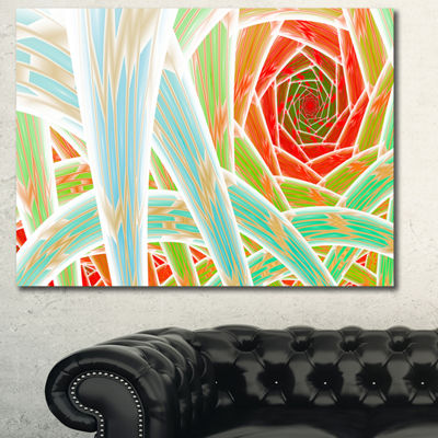 Designart Red Fractal Endless Tunnel Abstract Canvas Art Print