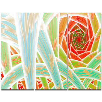 Designart Red Fractal Endless Tunnel Abstract Canvas Art Print - 3 Panels