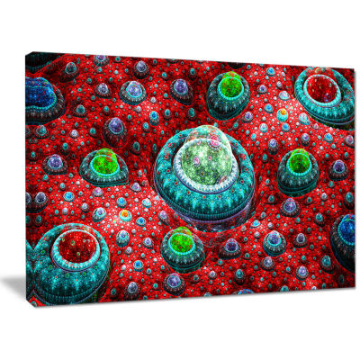 Designart Red Fractal Exotic Planet Abstract Canvas Art Print