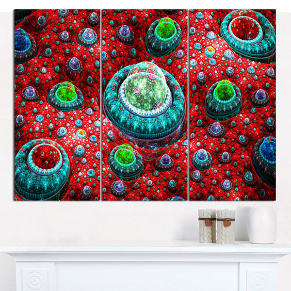 Designart Red Fractal Exotic Planet Abstract Canvas Art Print - 3 Panels