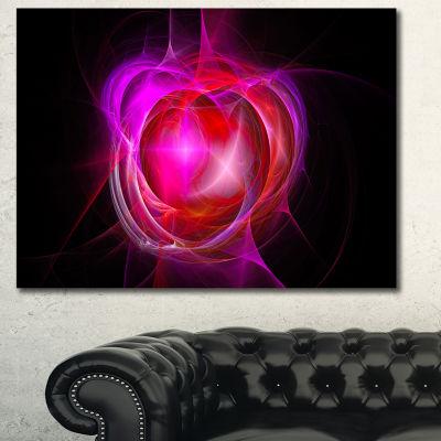 Designart Red Fractal Explosion Supernova AbstractCanvas Art Print