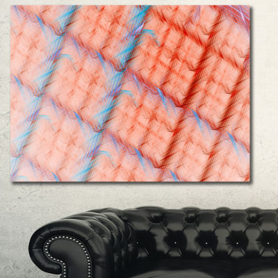 Designart Red Fractal Grill Pattern Abstract Art On Canvas