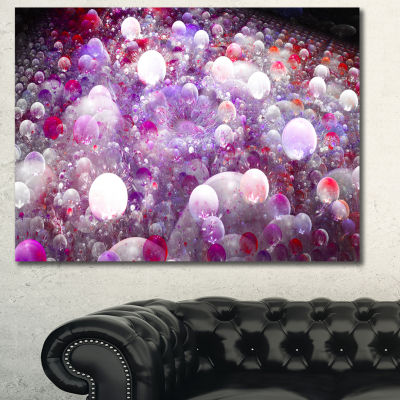 Designart Red Fractal Molecule Pattern Abstract Wall Art Canvas
