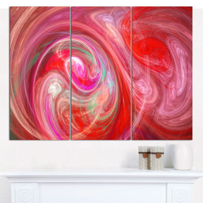 Designart Red Fractal Pattern With Circles Abstract Canvas Art Print - 3 Panels