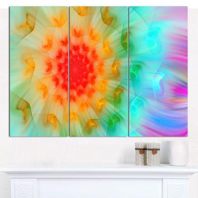 Designart Red Fractal Petals Dandelion Floral Canvas Art Print - 3 Panels