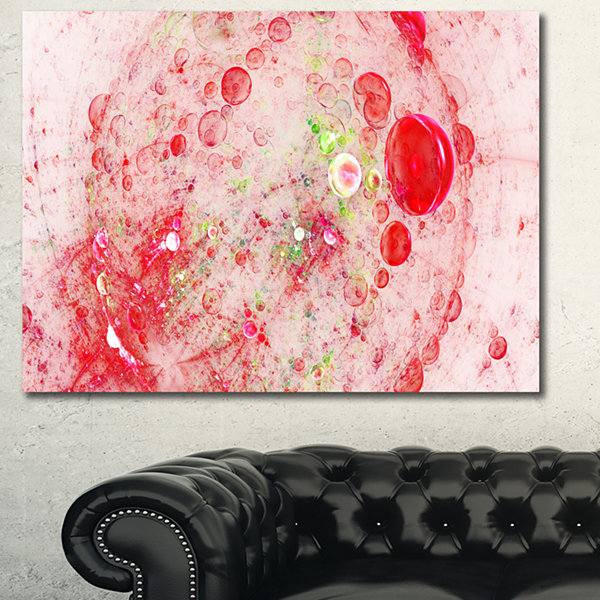 Designart Red Fractal Planet Of Bubbles Abstract Wall Art Canvas