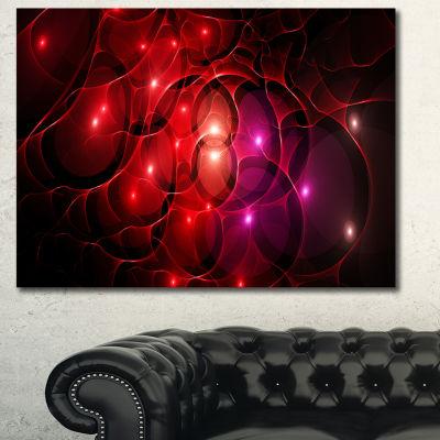 Designart Red Fractal Space Circles Abstract Canvas Art Print