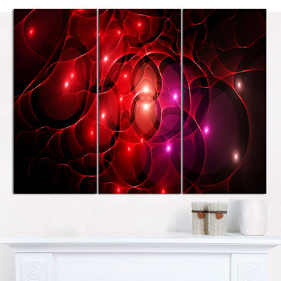 Designart Red Fractal Space Circles Abstract Canvas Art Print - 3 Panels
