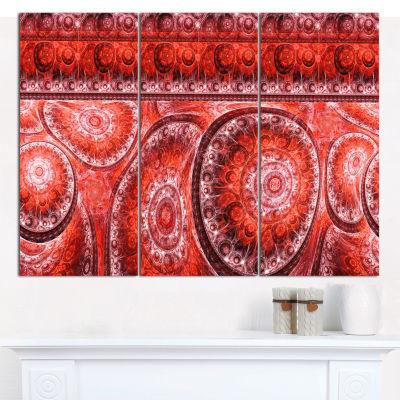 Designart Red Living Cells Fractal Design AbstractCanvas Art Print - 3 Panels