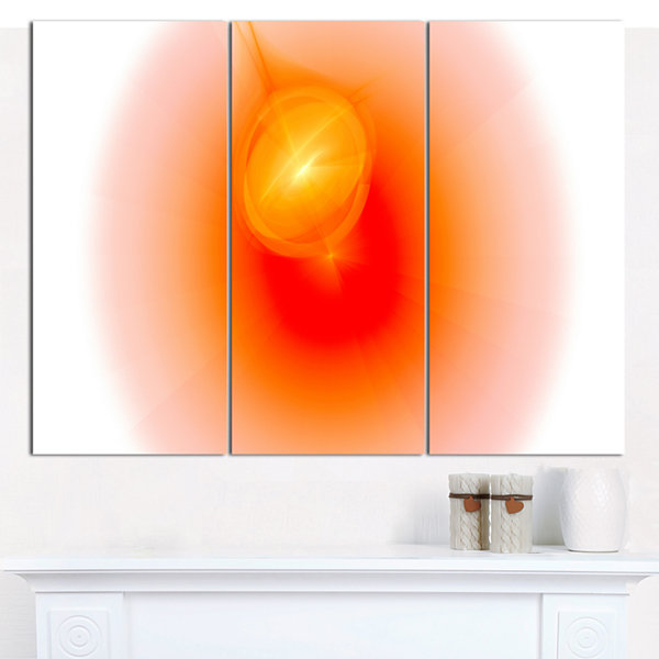 Designart Red Luminous Misty Sphere Abstract Canvas Art Print - 3 Panels