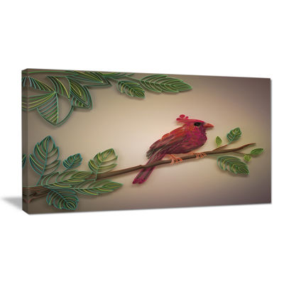 Designart Red Paper Quilling Of Cardinal Bird Floral Canvas Art Print