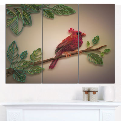 Designart Red Paper Quilling Of Cardinal Bird Floral Canvas Art Print - 3 Panels