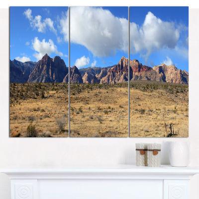 Designart Red Rock Canyon Landscape Landscape Canvas Art Print - 3 Panels