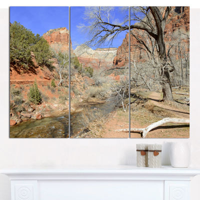 Designart Red Rock Mountain In Zion Park LandscapeCanvas Art Print - 3 Panels