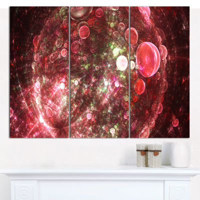 Designart Red Spherical Planet Bubbles Abstract Canvas Art Print - 3 Panels