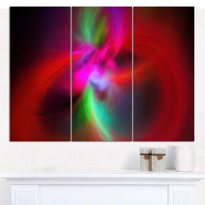 Designart Red Spiral Kaleidoscope Abstract Wall Art Canvas - 3 Panels