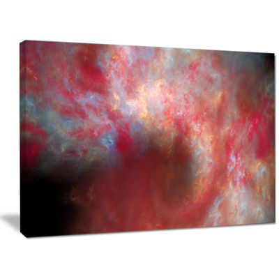 Designart Red Starry Fractal Sky Abstract Canvas Art Print