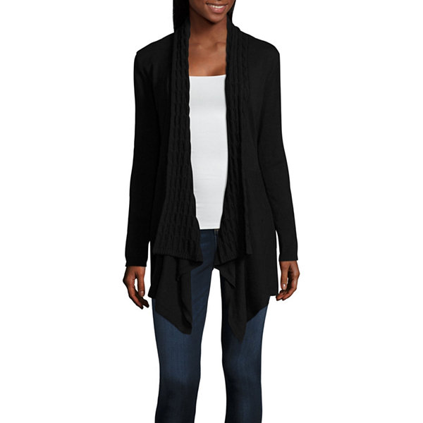St. John's Bay Long Sleeve Open Front Cardigan-Petites