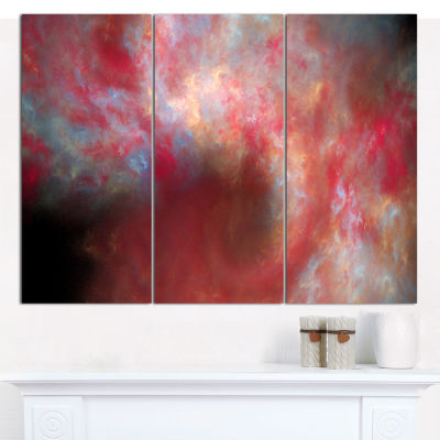 Designart Red Starry Fractal Sky Abstract Canvas Art Print - 3 Panels