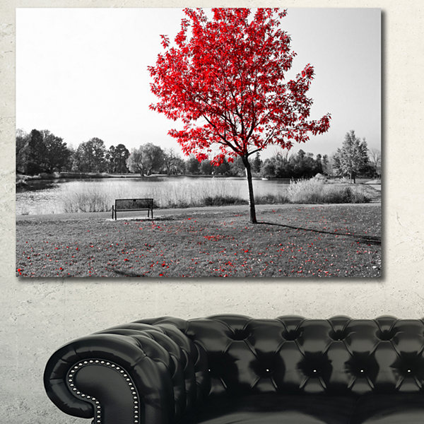 Designart Red Tree Over Park Bench Landscape Canvas Art Print