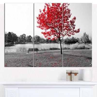 Designart Red Tree Over Park Bench Landscape Canvas Art Print - 3 Panels