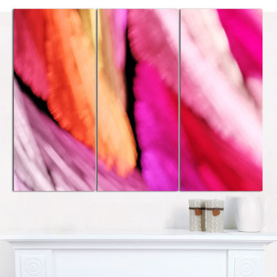 Designart Red Vibrant Brushstrokes Abstract CanvasArt Print - 3 Panels