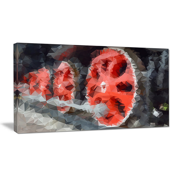 Designart Red Wheels Of Old Steam Train Abstract Canvas Art Print