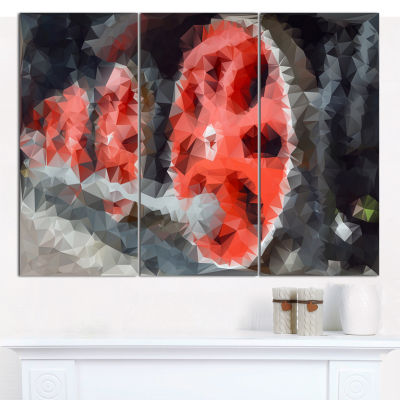 Designart Red Wheels Of Old Steam Train Abstract Canvas Art Print - 3 Panels
