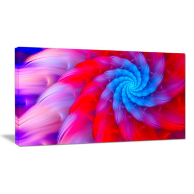 Designart Rotating Red Pink Fractal Flower FloralCanvas Art Print