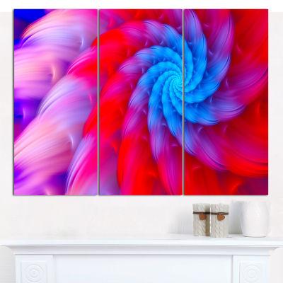 Designart Rotating Red Pink Fractal Flower FloralCanvas Art Print - 3 Panels