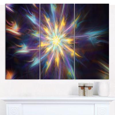 Designart Shining Multi Color Exotic Flower FloralCanvas Art Print - 3 Panels