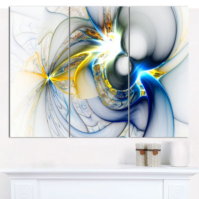 Designart Shining Multi Colored Plasma Abstract Wall Art Canvas - 3 Panels