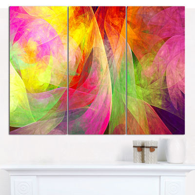 Designart Spectacular Multi Color Pattern Floral Canvas Art Print - 3 Panels