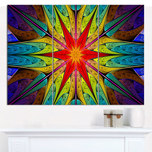 Designart Stained Glass With Bright Red Star Abstract Wall Art Canvas - 3 Panels