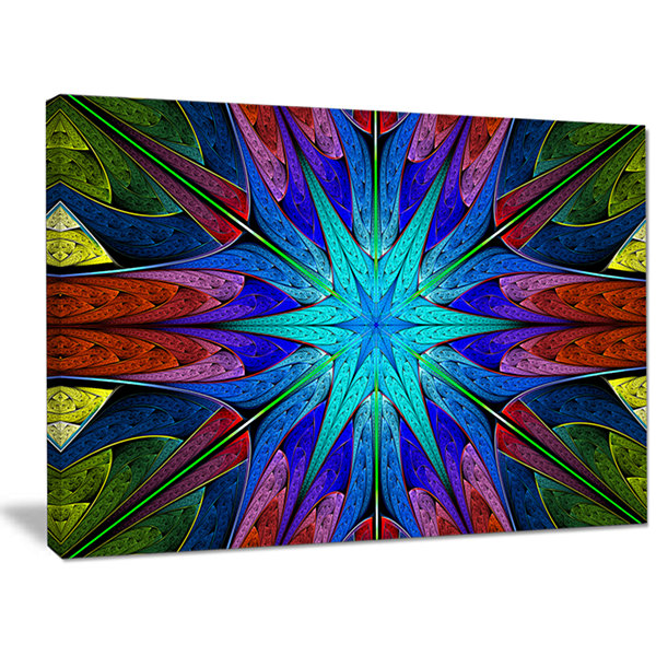Designart Stained Glass With Multi Color Stars Abstract Wall Art Canvas