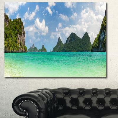 Designart Thailand Beach Panorama Landscape CanvasArt Print