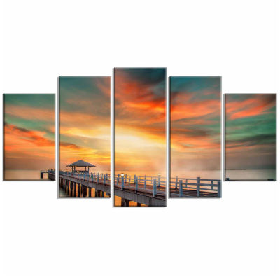 Designart Wooden Bridge Under Colorful Sky Sea Bridge Canvas Art Print - 5 Panels
