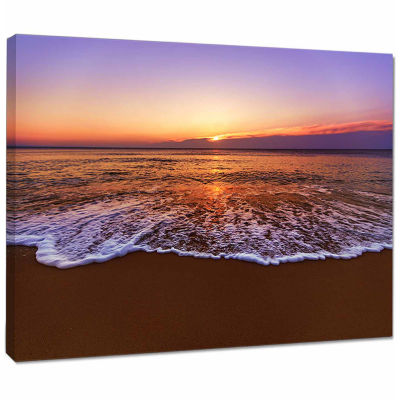 Design Art Orange Tinged Sea Waters At Sunset Beach Photo Canvas Print