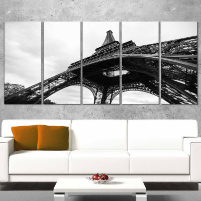 Designart Paris Eiffel Tower in Black And White Side View Cityscape Canvas Print - 5 Panels