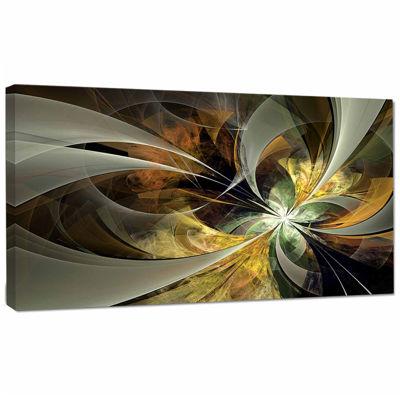 Designart Symmetrical Gold Fractal Flower Canvas Art Print