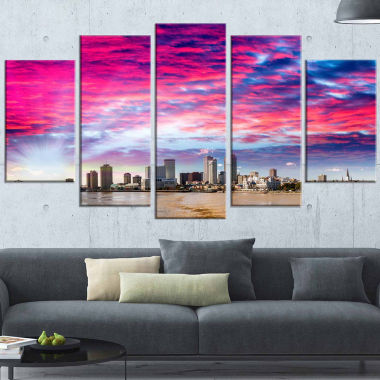 Designart New Orleans Building And Skyscrapers Modern Cityscape Canvas Wall Art - 5 Panels