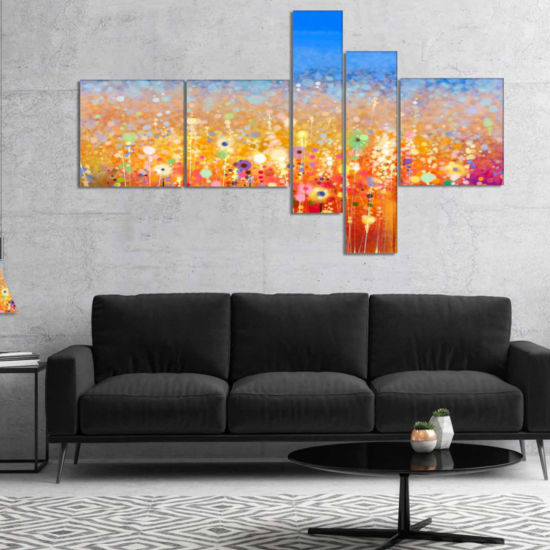 Designart Abstract Flower Field Watercolor Painting Canvas Art Print - 5 Panels