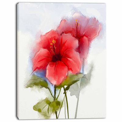 Design Art Watercolor Painting Red Hibiscus Flower Canvas Art Print