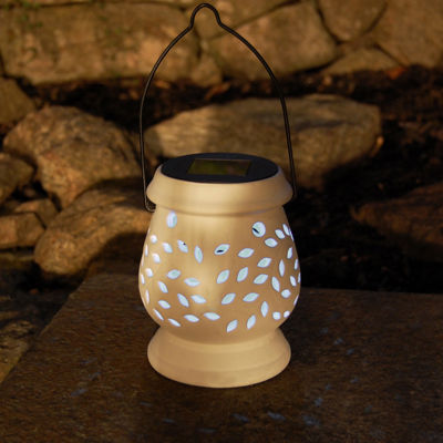 Solar Powered Ceramic Lantern