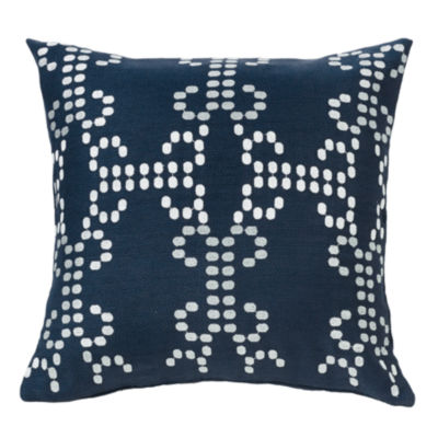 HiEnd Accents Navy Linen Deco Pillow with Embroidery Detail