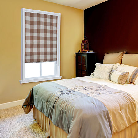 JCPenney Home Plaid Flat Cordless Light-Filtering Roman Shade, One Size , Brown