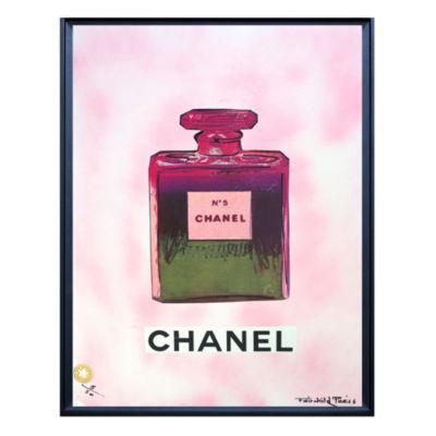 Fairchild Paris Pink & Green Chanel No. 5 Bottle Framed Wall Art