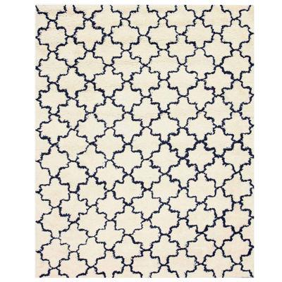 Eastern Rugs Handmade Transitional Geometric Moroccan Shaggy Rug