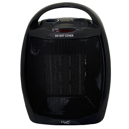 Vie Air 1500W Portable 2-Settings Black Ceramic Heater with Adjustable Thermostat, One Size , Black